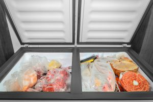 Chest Freezer with Frozen foods.