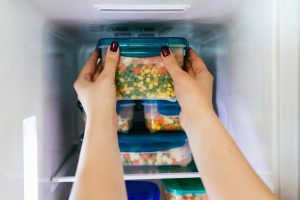 Foods stored in a freezer.