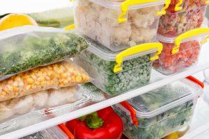 Frozen foods in bins.