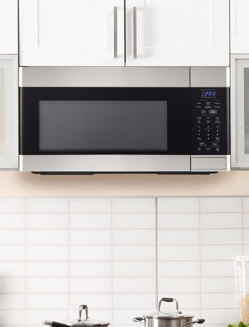 Close-up of an over-the-range microwave.