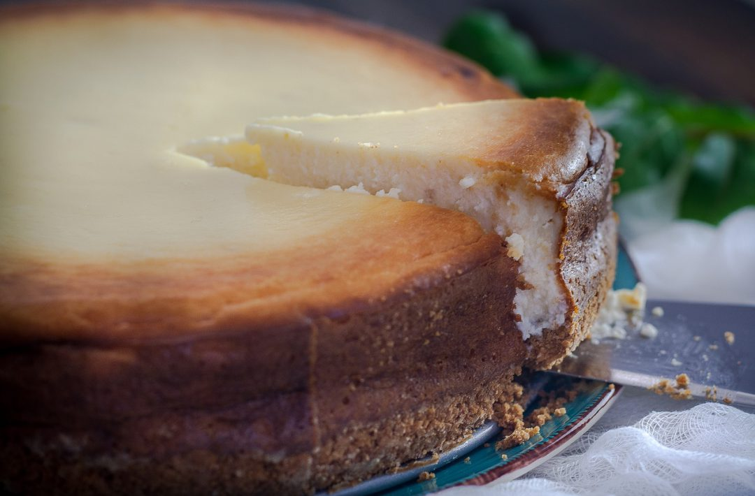 New York style cheesecake being served