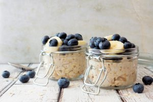 Banana and blueberry overnight oats.