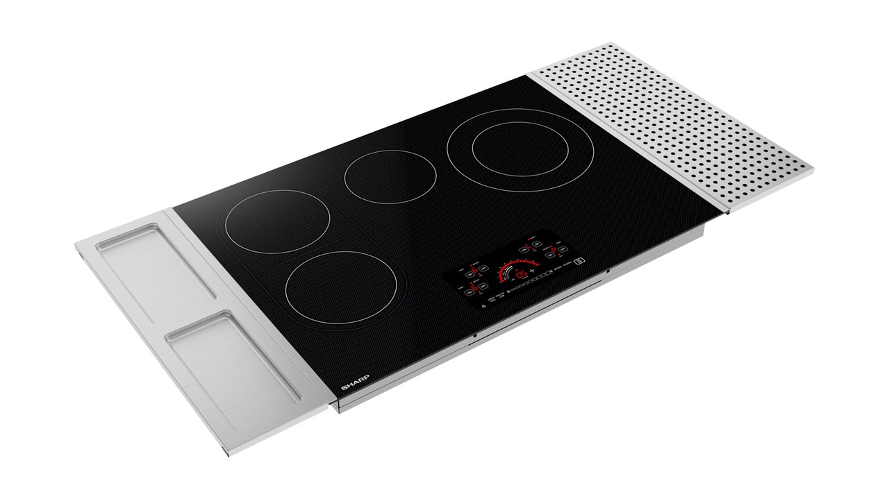 30-inch Drop-In Radiant Cooktop with Side Accessories (SCR3042FB) – front right angle view