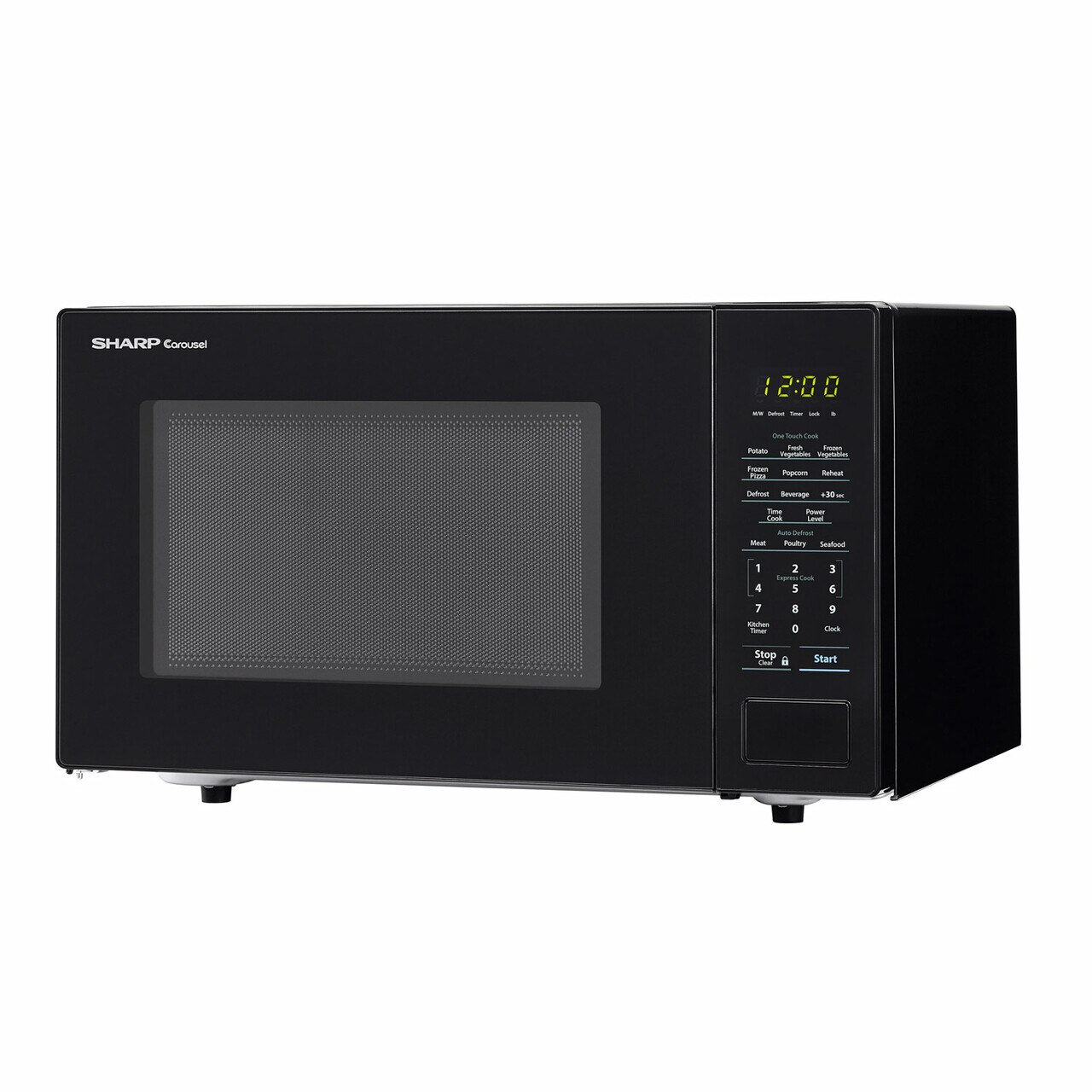 Sharp 1.1 cu. ft. Black Countertop Microwave (SMC1131CB) – left angle view