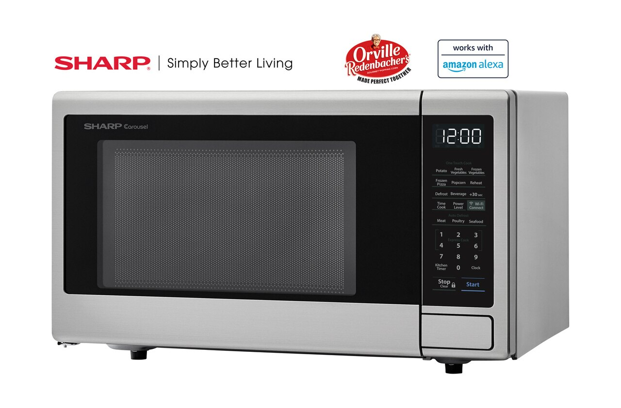 1.1 cu. ft. Sharp Stainless Steel Smart Microwave (SMC1139FS) – left angle view