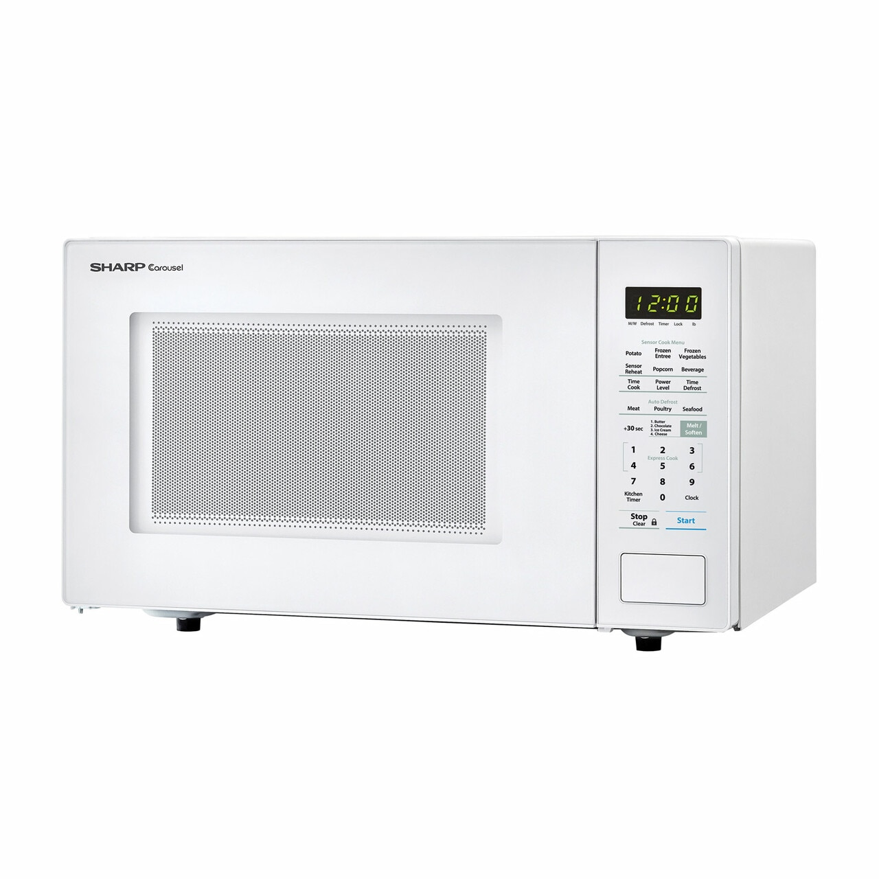 1.4 cu. ft. Sharp White Countertop Microwave (SMC1441CW) – left angle view