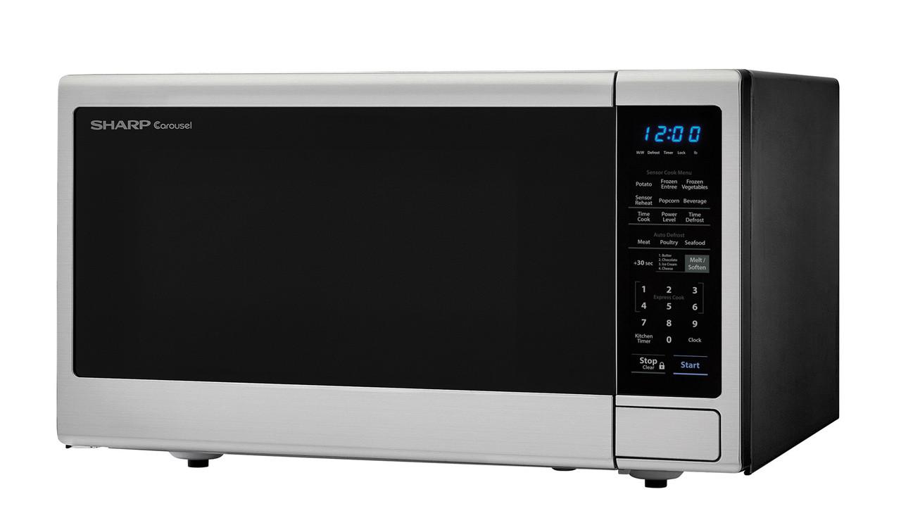 1.4 cu. ft. Sharp Black Carousel Countertop Microwave (SMC1443CM) – left angle view