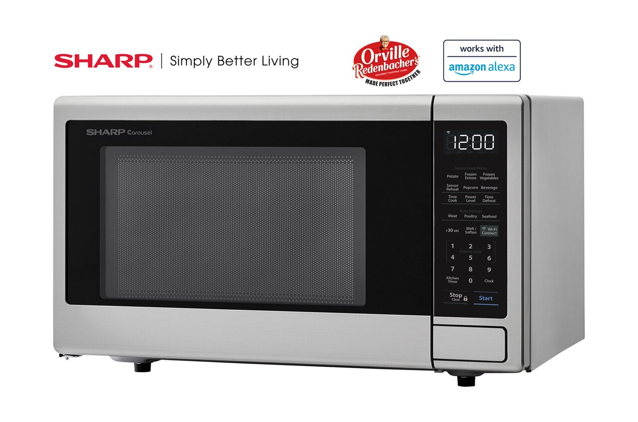 1.4 cu. ft. Sharp Stainless Steel Smart Microwave (SMC1449FS) – left angle view