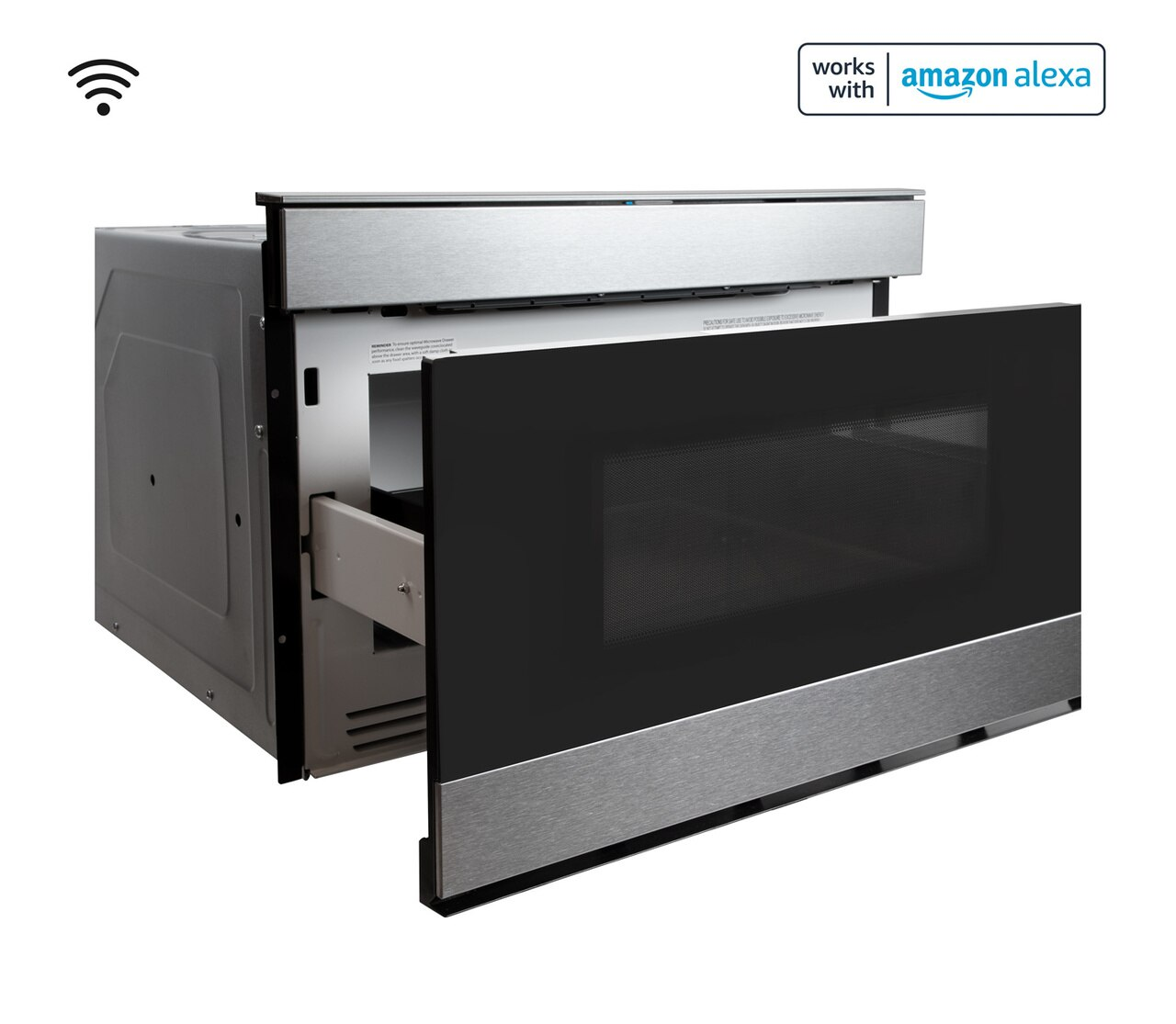 Pull-out Microwave: 24 in. Sharp Stainless Steel Smart Microwave Drawer Oven (SMD2489ES) Works with Alexa, and the Sharp Kitchen App on the App Store and Google Play:  right open