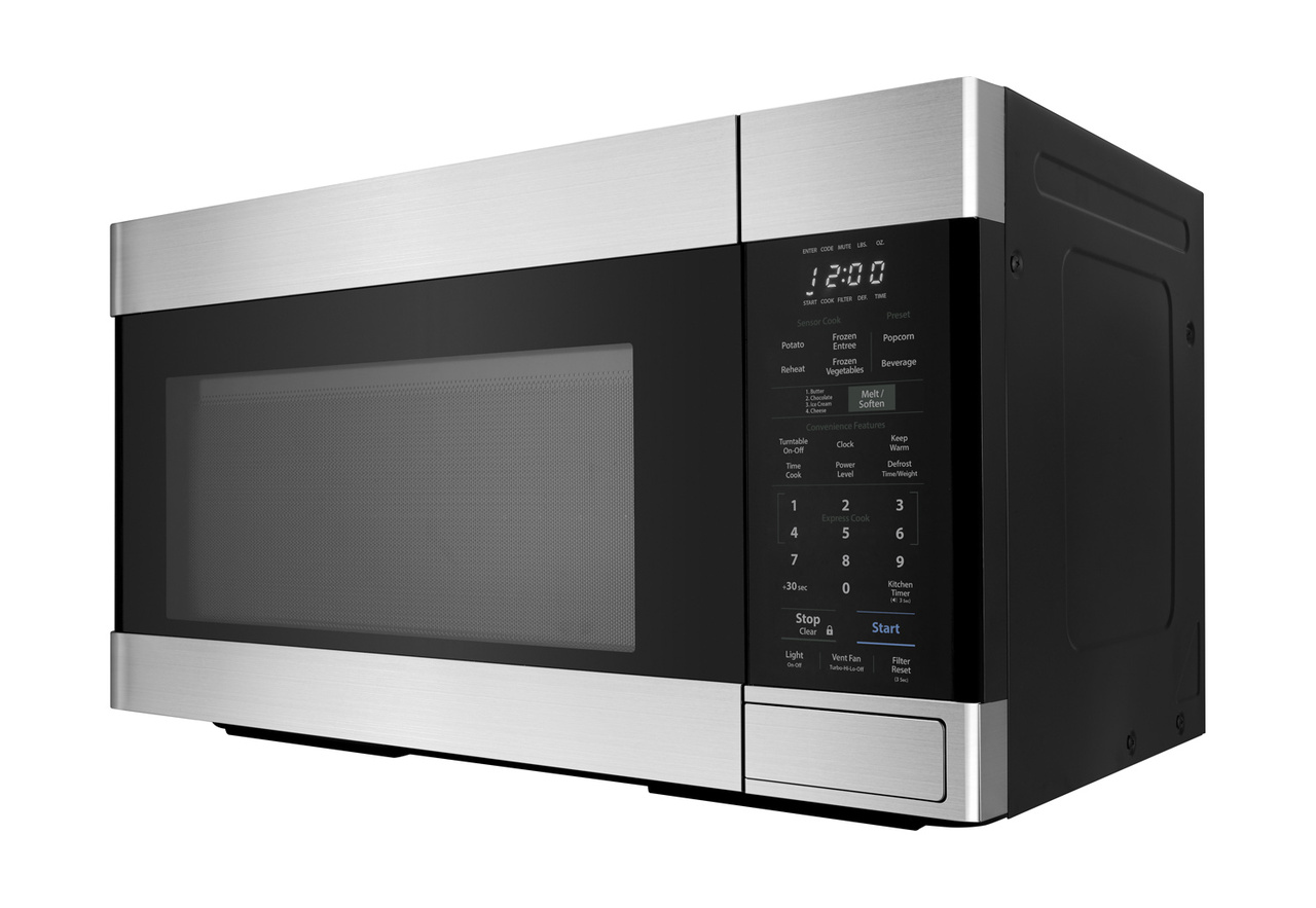 1.8 cu. ft. Stainless Steel 1100W Over-the-Range Microwave Oven- right angle view