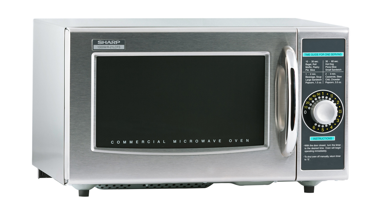 Medium-Duty Commercial Microwave Oven with 1000 Watts (R21LCFS) – right angle view