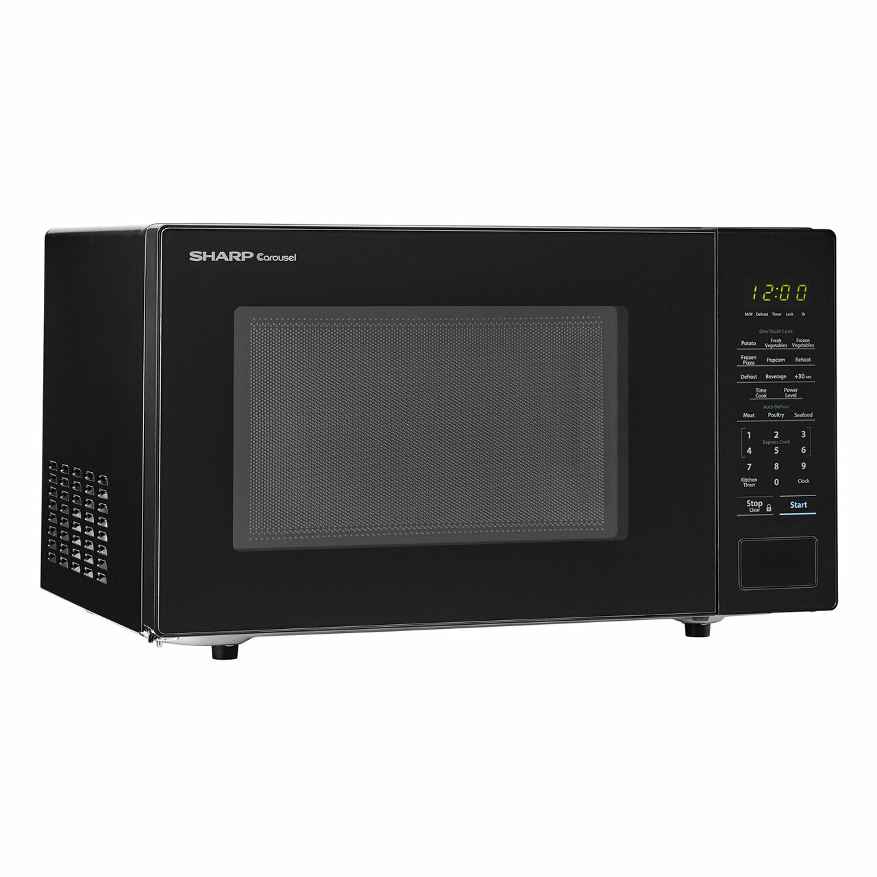 Sharp 1.1 cu. ft. Black Countertop Microwave (SMC1131CB) – right angle view