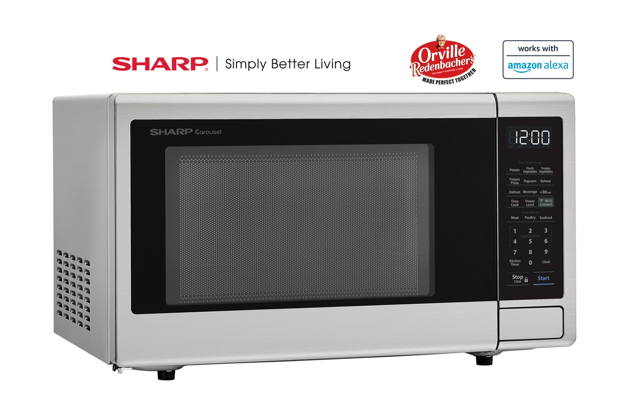 1.1 cu. ft. Sharp Stainless Steel Smart Microwave (SMC1139FS) – right angle view