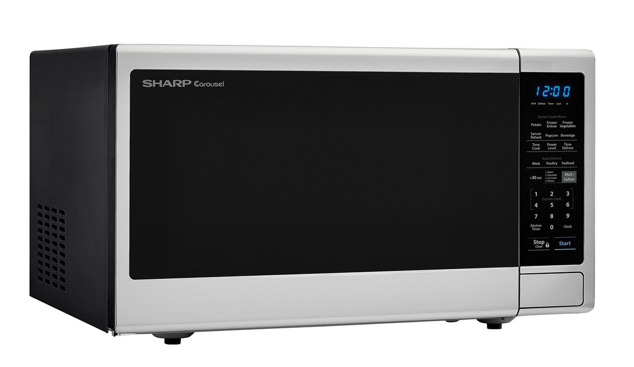 1.4 cu. ft. Sharp Black Carousel Countertop Microwave (SMC1443CM) – right angle view