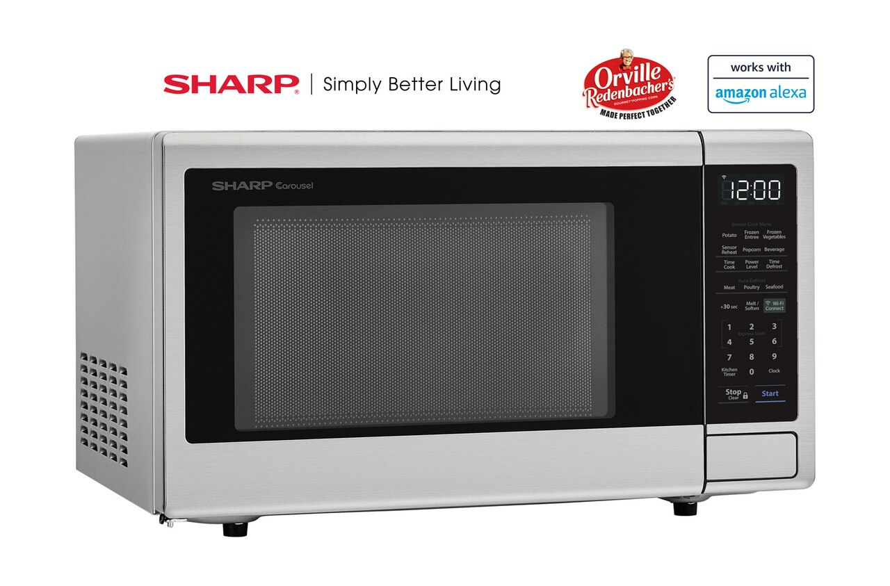 1.4 cu. ft. Sharp Stainless Steel Smart Microwave (SMC1449FS) – right angle view