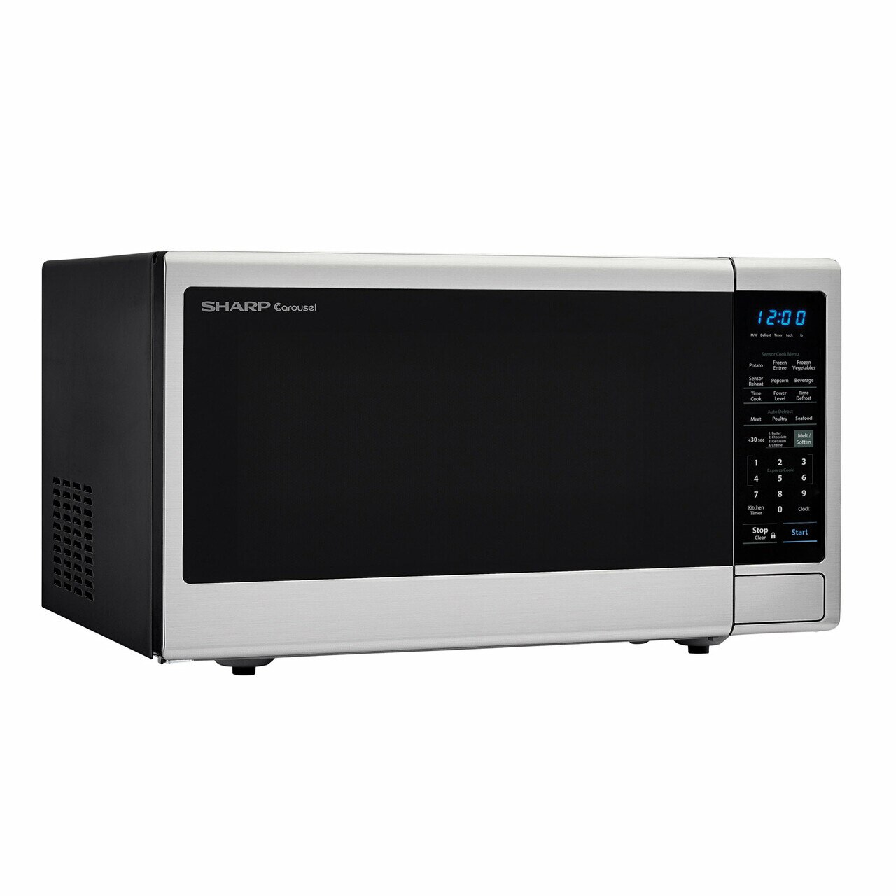 1.8 cu. ft. Sharp Stainless Steel Microwave with Black Mirror Door (SMC1843CM) – left angle view