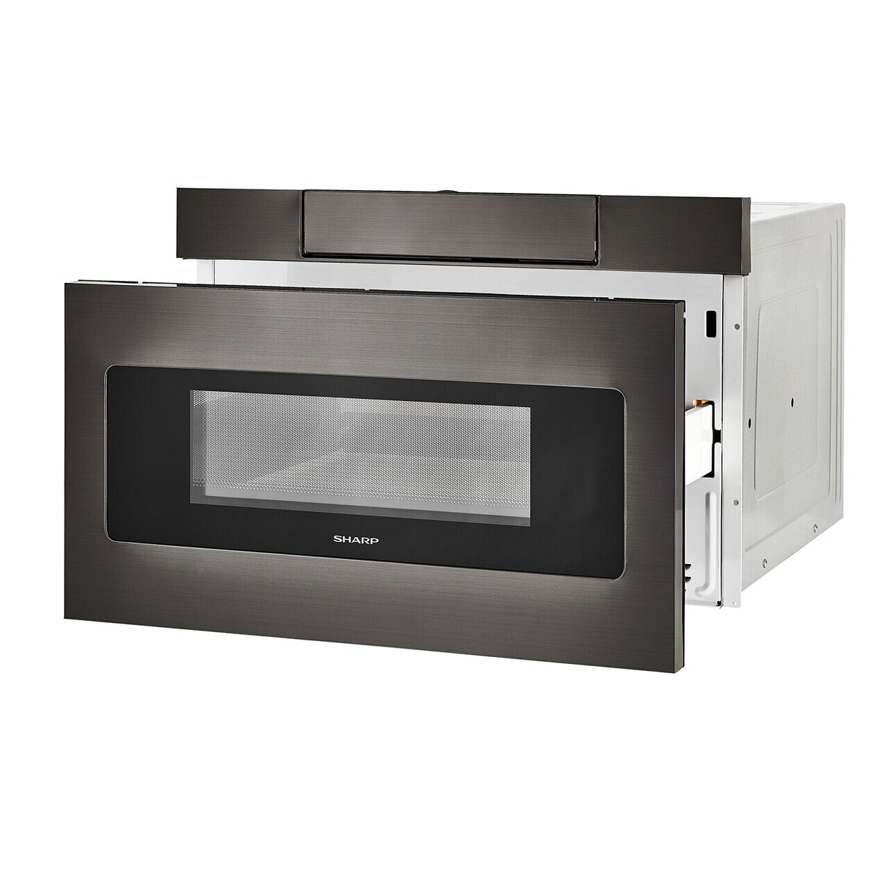 24 in. Black Stainless Steel Microwave Drawer (SMD2470AH) – angled left, open drawer