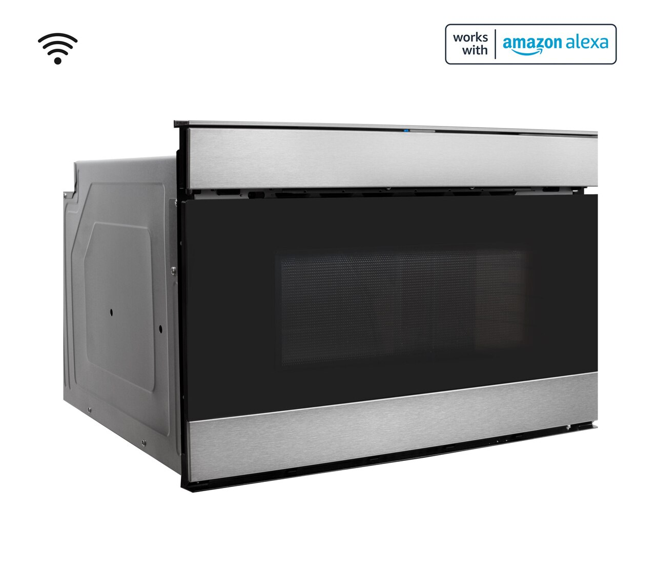 Pull-out Microwave: 24 in. Sharp Stainless Steel Smart Microwave Drawer Oven (SMD2489ES) Works with Alexa, and the Sharp Kitchen App on the App Store and Google Play:  right