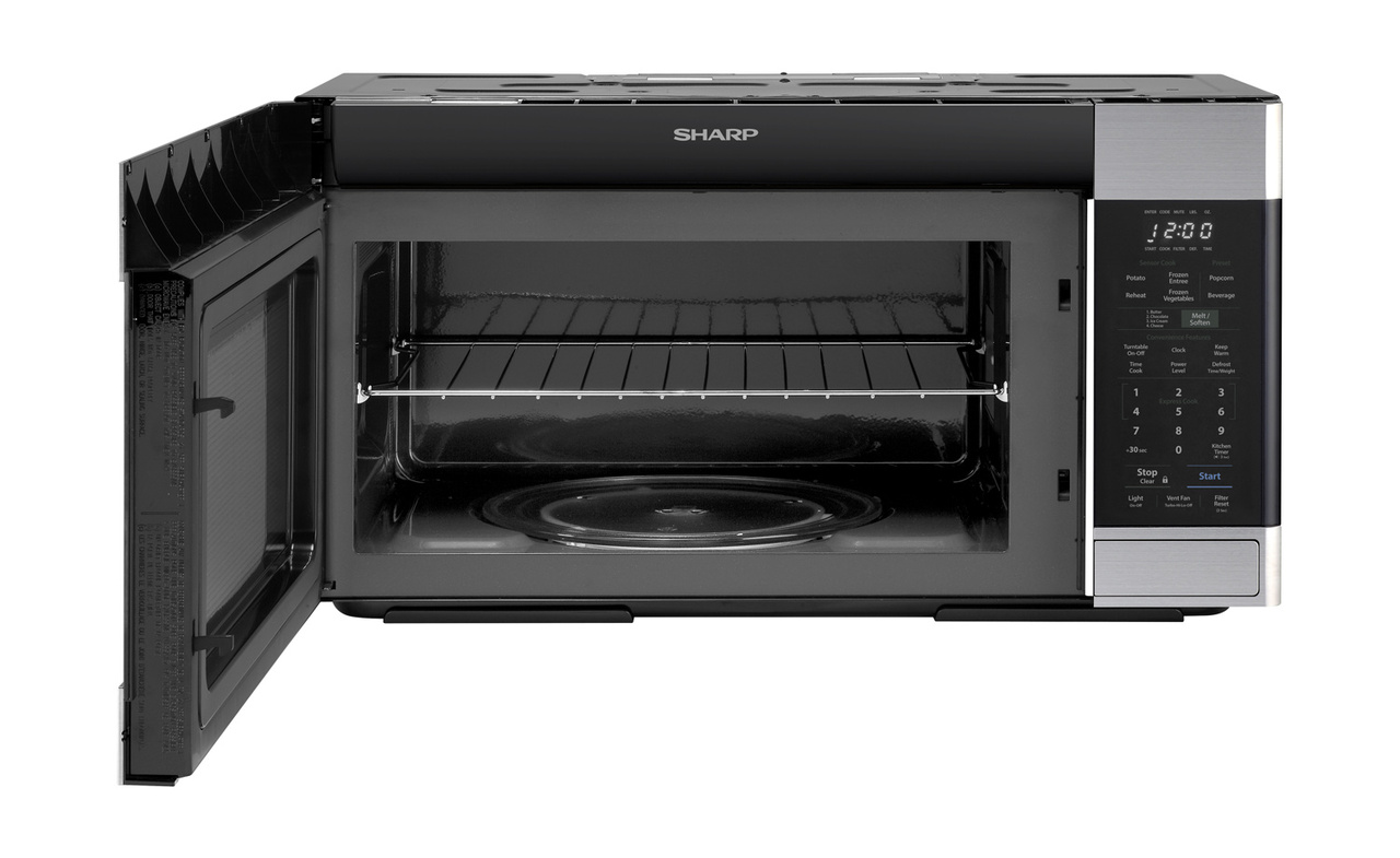 1.8 cu. ft. Stainless Steel 1100W Over-the-Range Microwave Oven- front view with door open