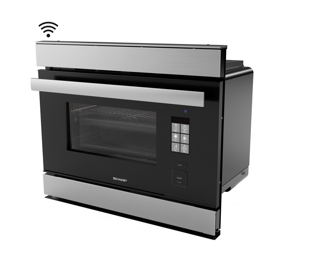 Left side view of the SuperSteam IoT Oven (SSC2489DS) - Sharp's Superheated Steam Oven