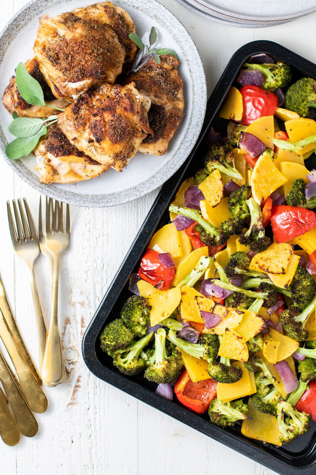sheet pan with veggies and chicken
