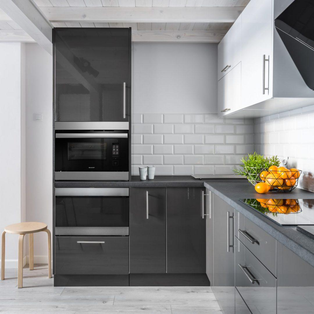 kitchen range with Sharp built-in appliance