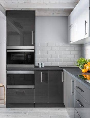 kitchen range with Sharp built-in appliance