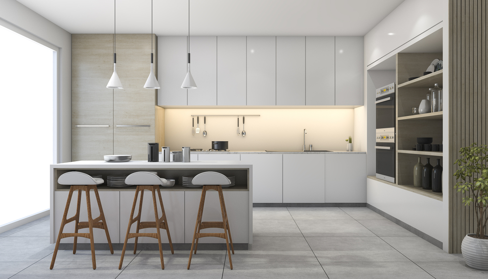 modern kitchen layout with island
