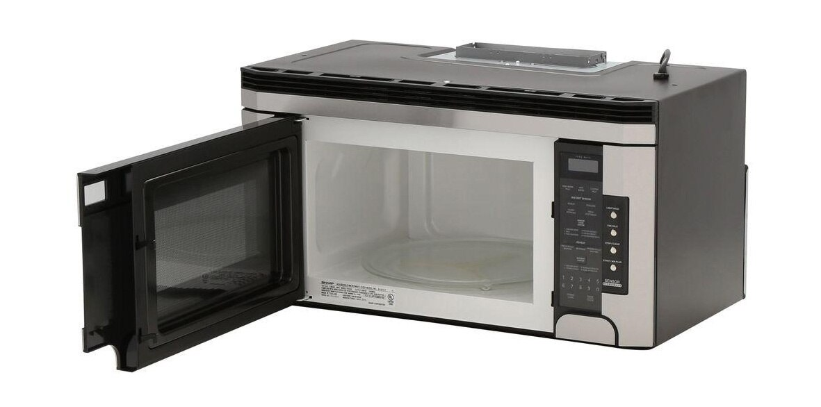 1.5 cu. ft. 1000W Stainless Steel Over-the-Range Microwave (R1514TY) – left angle view with door open