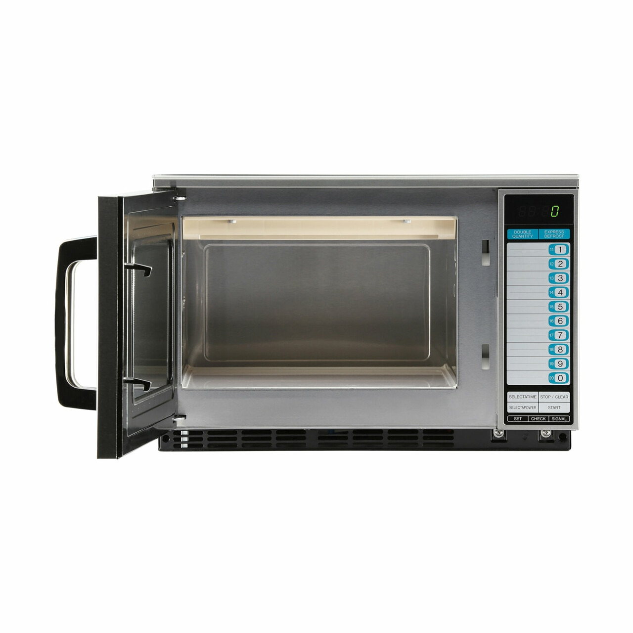 Sharp R25JTF Heavy-Duty Commercial Microwave Oven with 2100 Watts – front view with door open