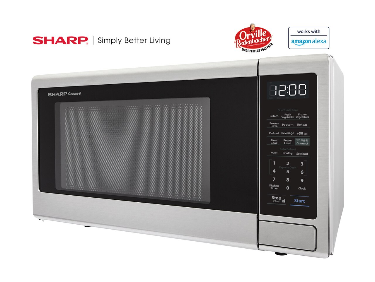 1.1 cu. ft. Sharp Stainless Steel Smart Microwave (SMC1139FS) – left side view