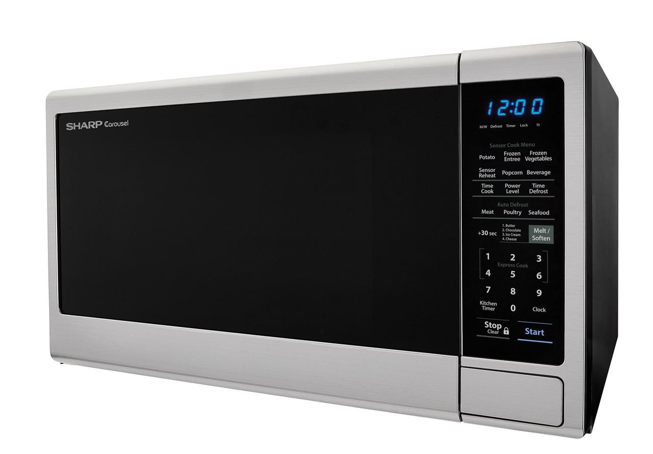 1.4 cu. ft. Sharp Black Carousel Countertop Microwave (SMC1443CM) – left side view