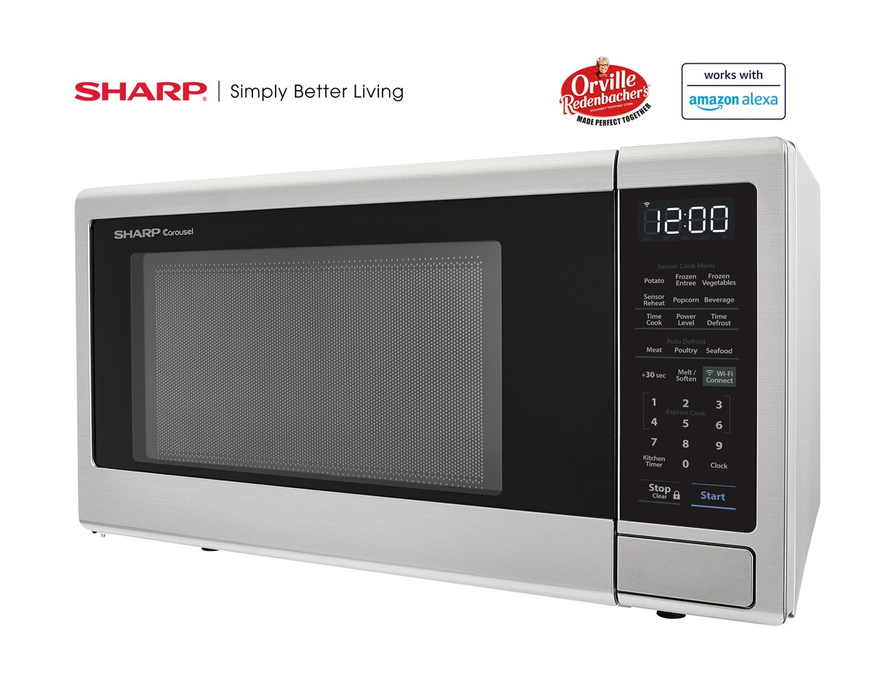 1.4 cu. ft. Sharp Stainless Steel Smart Microwave (SMC1449FS) – left side view