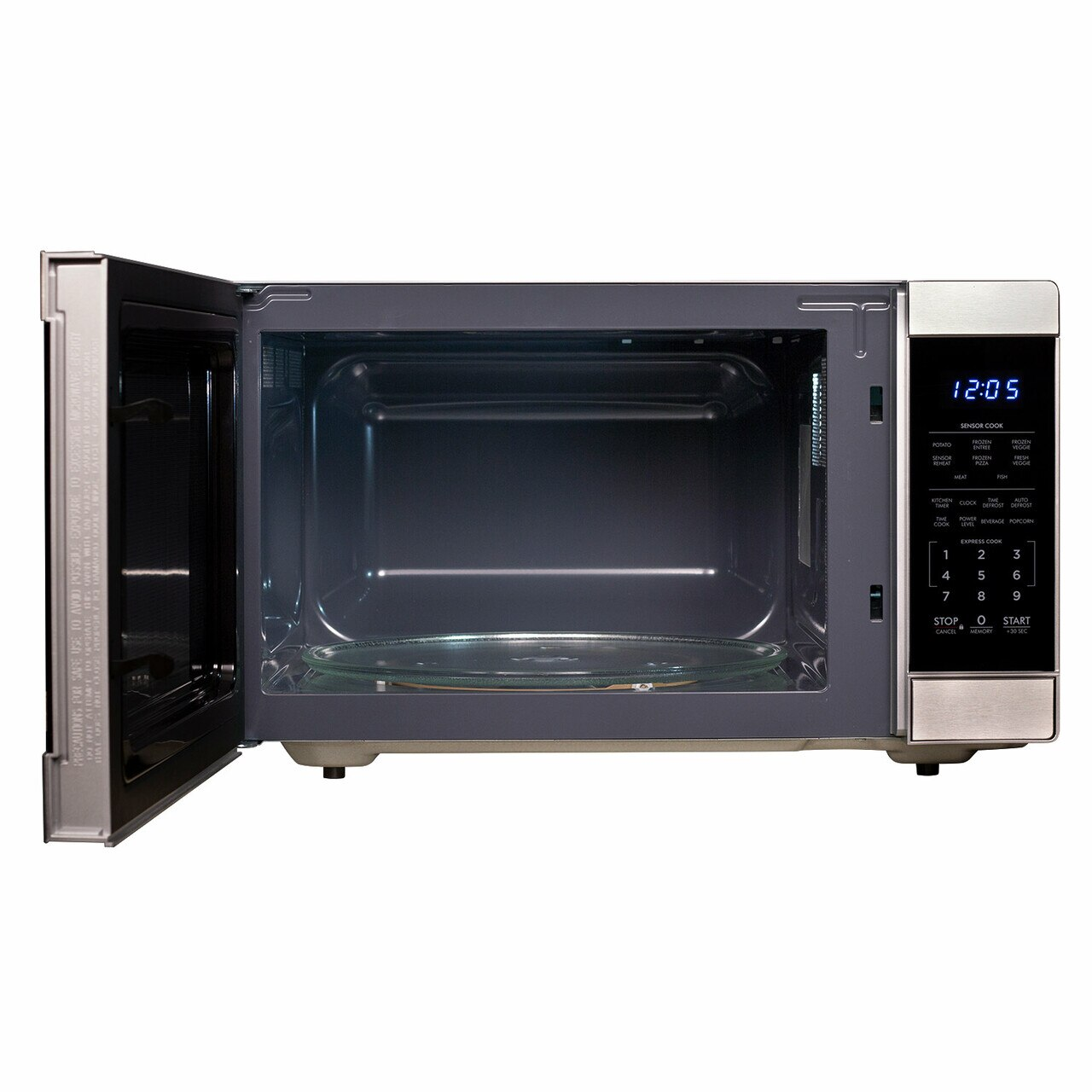 1.6 cu. ft. Stainless Steel Countertop Microwave (SMC1662DS) – front view with door open