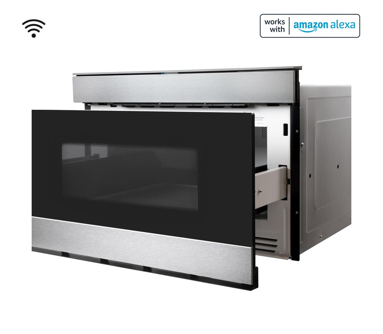 Pull-out Microwave: 24 in. Sharp Stainless Steel Smart Microwave Drawer Oven (SMD2489ES) Works with Alexa, and the Sharp Kitchen App on the App Store and Google Play:  left open