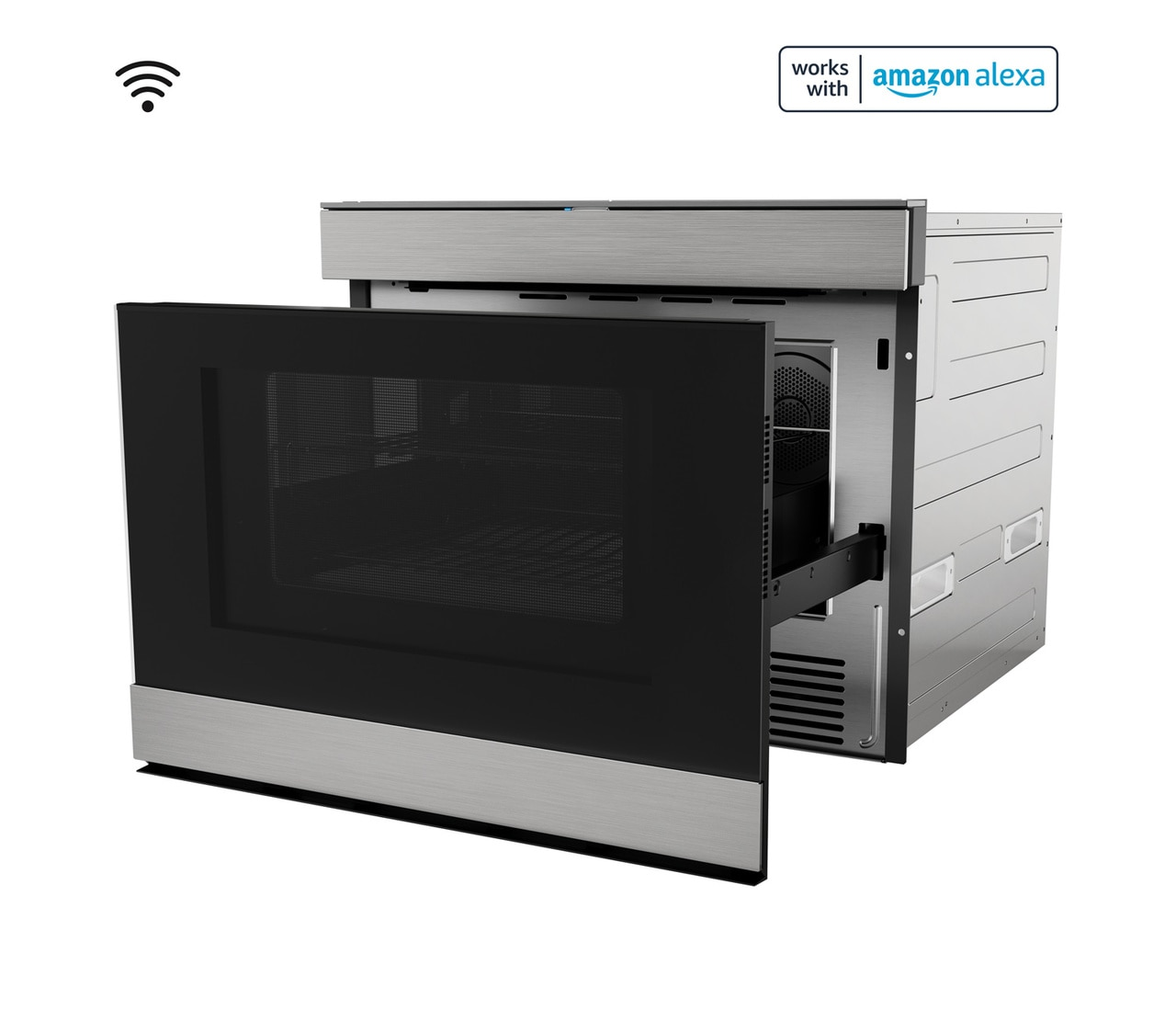 """24"""" Built-In Smart Convection Microwave Drawer Oven (SMD2499FS) Left Open"""