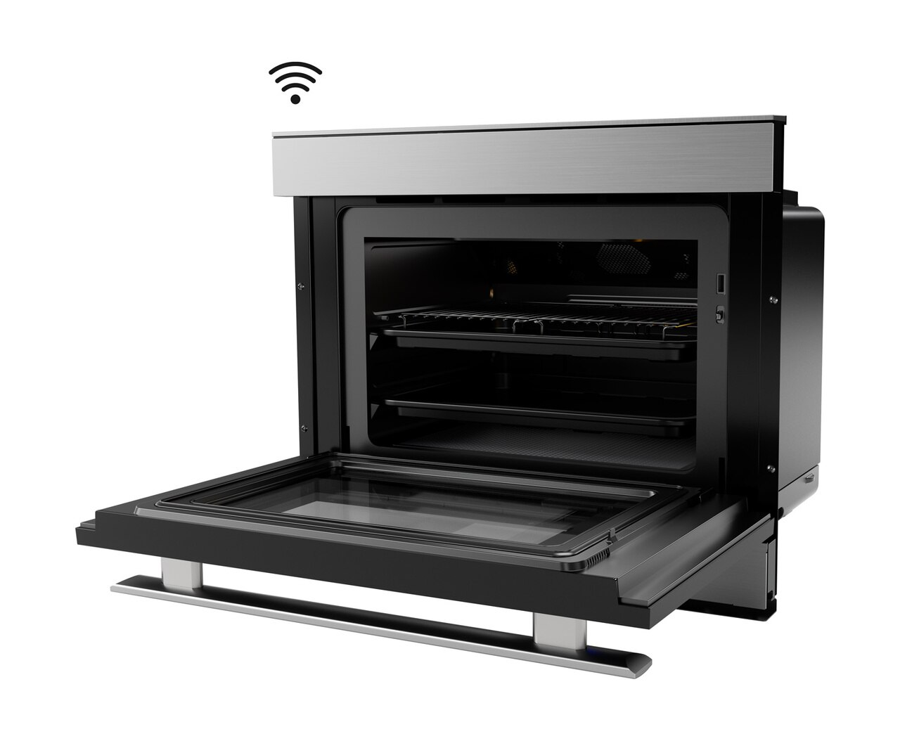 Left side view of the SuperSteam IoT Oven (SSC2489DS) with door open - Sharp's Superheated Steam Oven