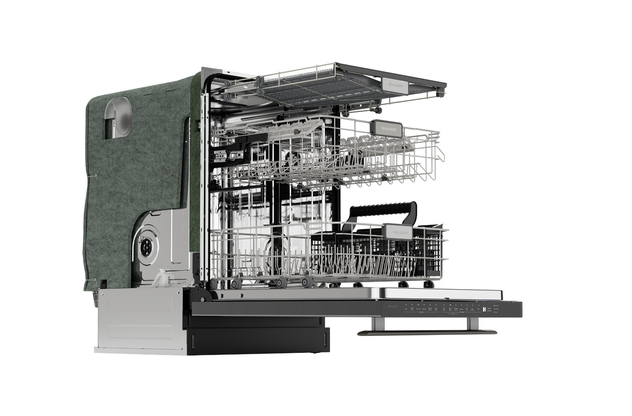 "Sharp 24"" Slide-In Stainless Steel Dishwasher (SDW6757ES) – right side view with door open and racks extended"