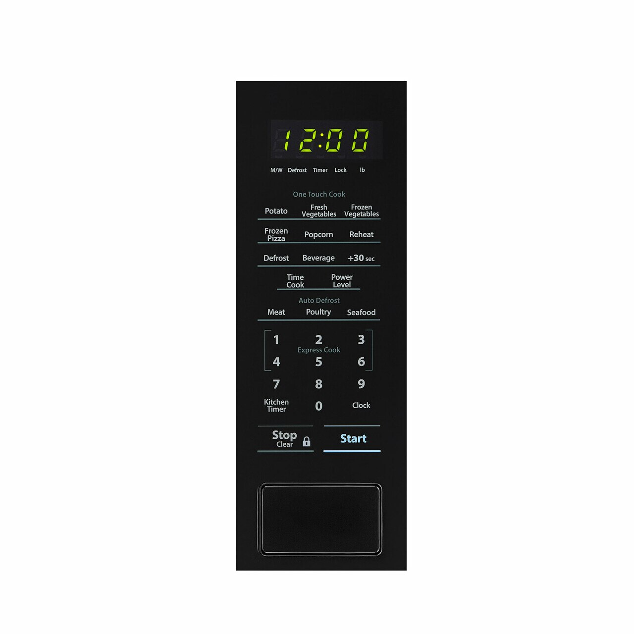 Sharp 1.1 cu. ft. Black Countertop Microwave (SMC1131CB) – control panel