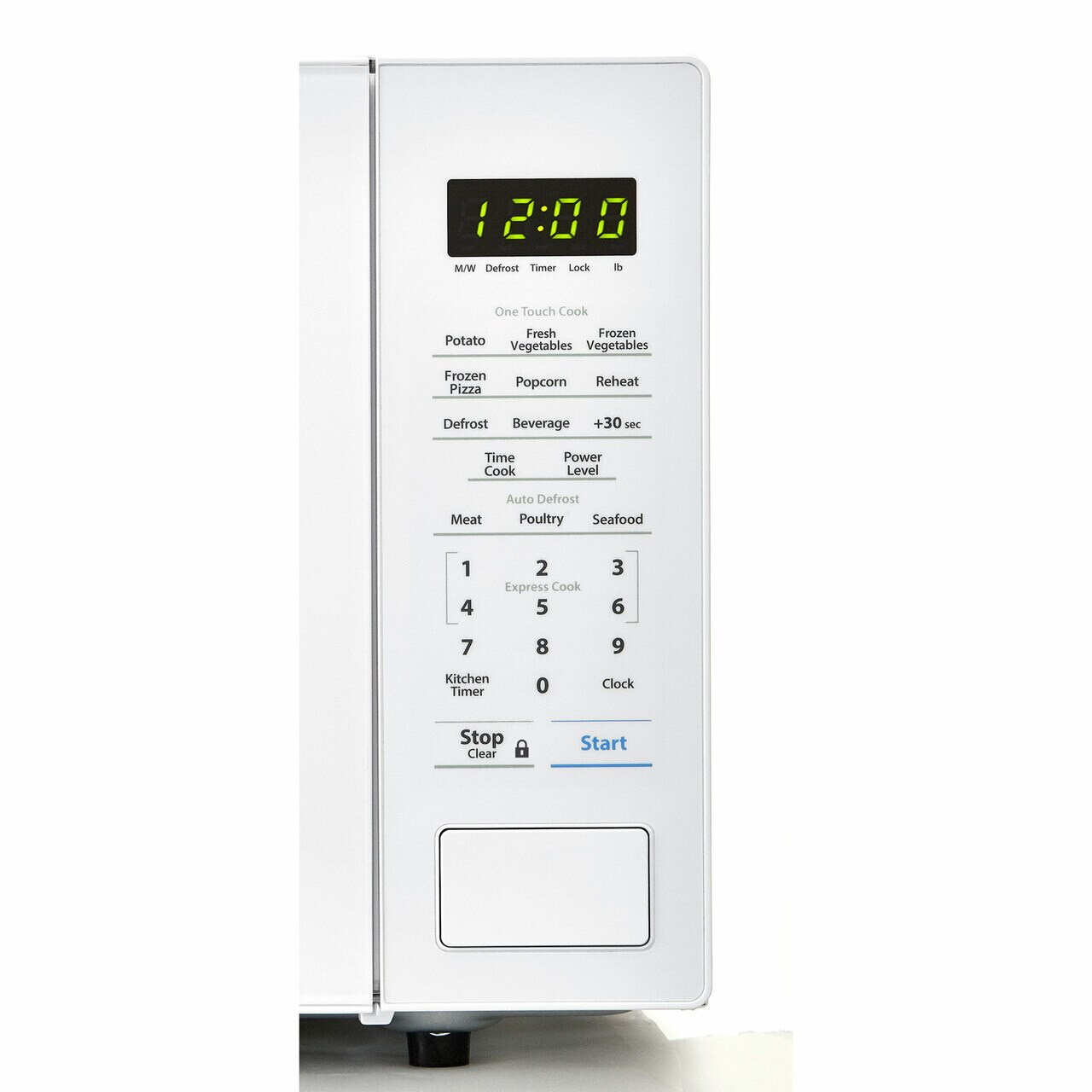 1.1 cu. ft. Sharp White Countertop Microwave (SMC1131CW) – control panel
