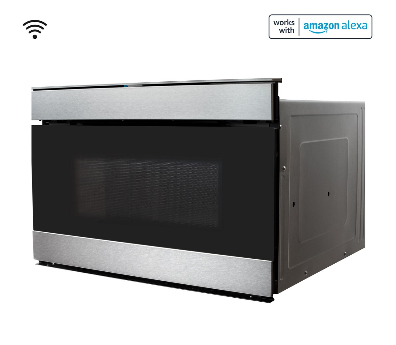 Pull-out Microwave: 24 in. Sharp Stainless Steel Smart Microwave Drawer Oven (SMD2489ES) Works with Alexa, and the Sharp Kitchen App on the App Store and Google Play:  left