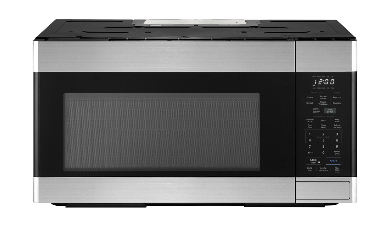 1.8 cu. ft. Stainless Steel 1100W Over-the-Range Microwave Oven- top view