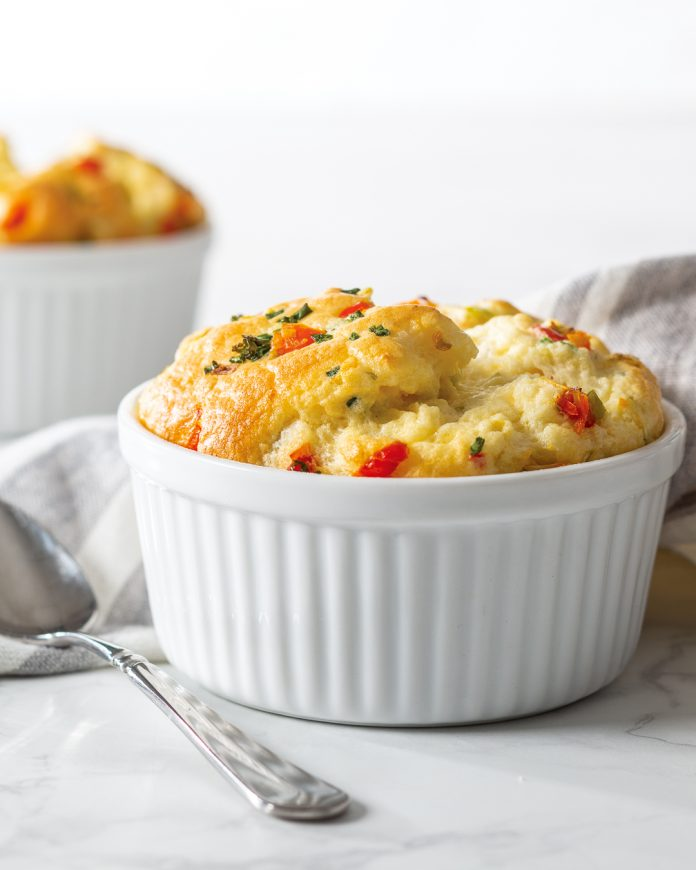 leek and chive souffle in a white bowl