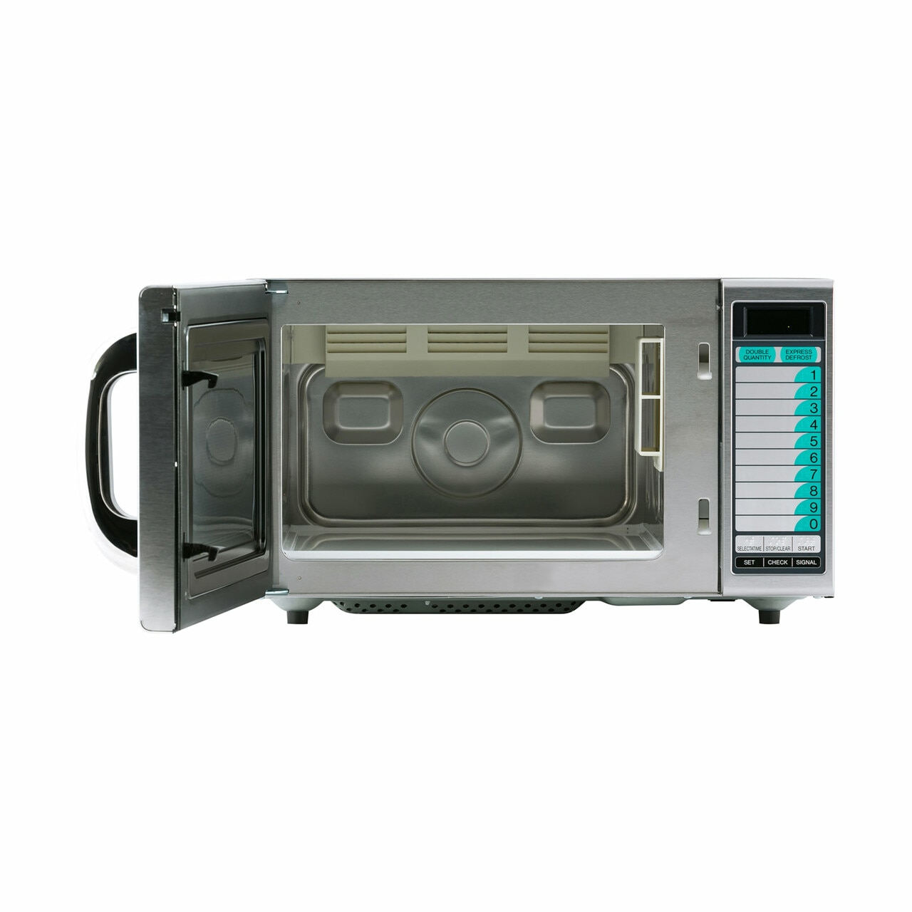 Medium Duty Commercial Microwave Oven with 1000 Watts (R21LVF) – front view with door open