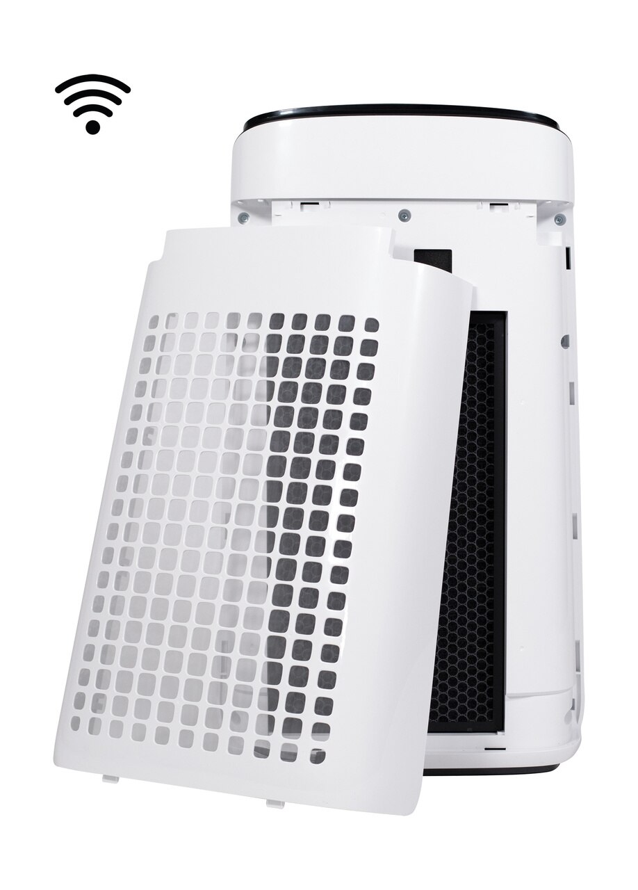 Sharp IoT Plasmacluster® Ion True HEPA Large Room Air Purifier (FXJ80UW) – Back View of Three-Stage Filter System