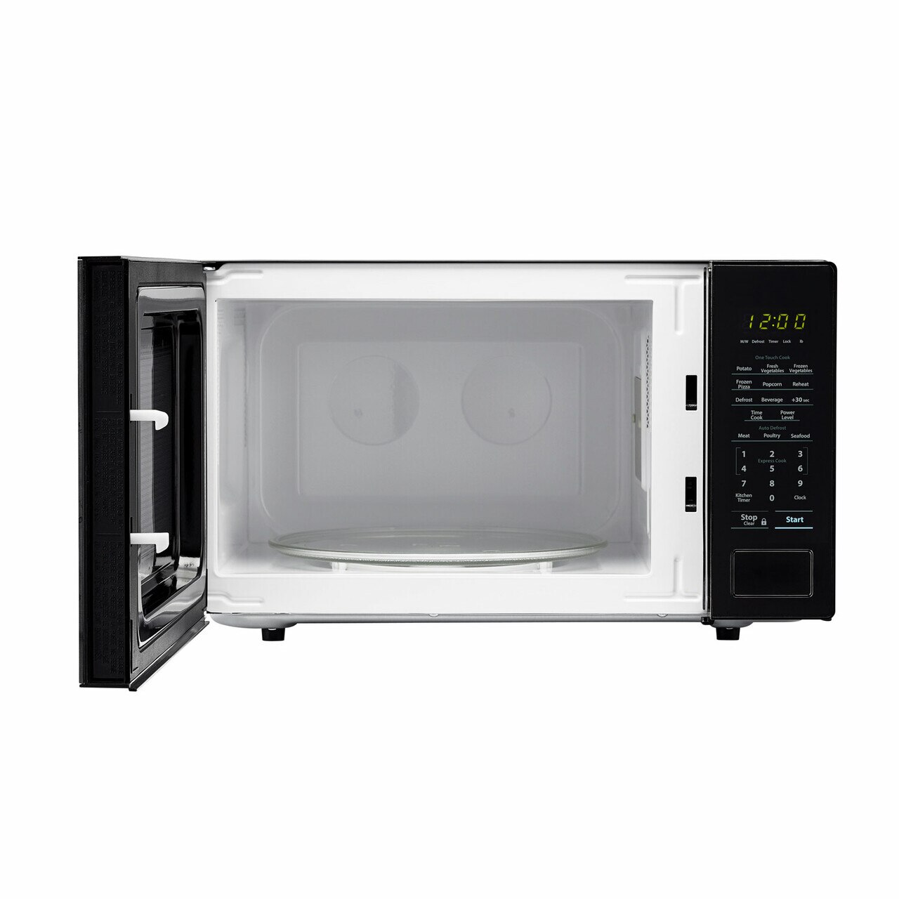 Sharp 1.1 cu. ft. Black Countertop Microwave (SMC1131CB) – front view with door open