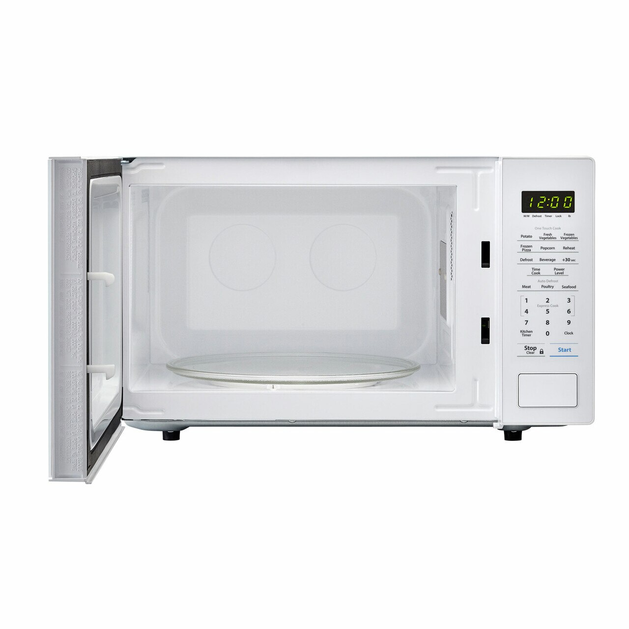 1.1 cu. ft. Sharp White Countertop Microwave (SMC1131CW) – front view with door open