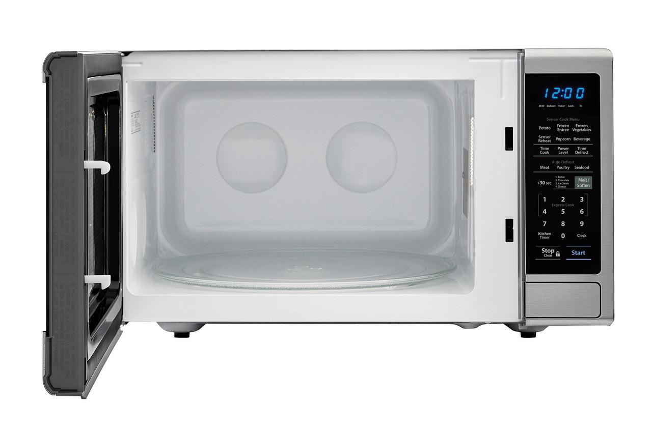 1.4 cu. ft. Sharp Black Carousel Countertop Microwave Microwave (SMC1443CM) – front view with door open