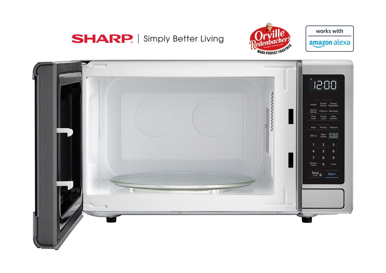1.4 cu. ft. Sharp Stainless Steel Smart Microwave (SMC1449FS) – front view with door open