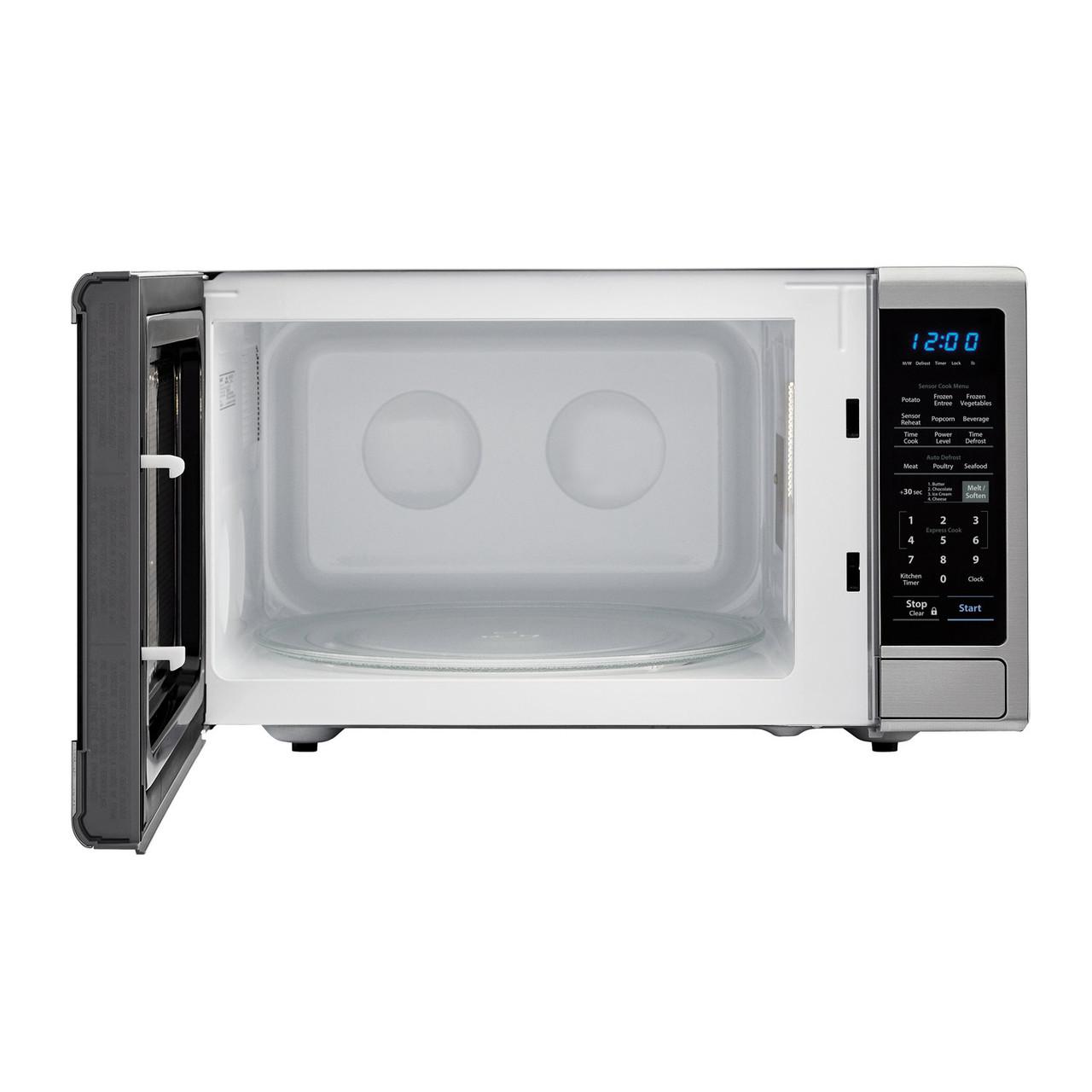1.8 cu. ft. Sharp Stainless Steel Microwave with Black Mirror Door (SMC1843CM) – front view with door open